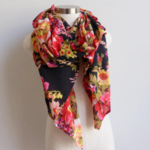 Vintage Floral Scarf is a handmade 100% cotton retro print accessory or sarong wrap. Black.