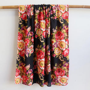 Vintage Floral Scarf is a handmade 100% cotton retro print accessory or sarong wrap. Black. Full View.