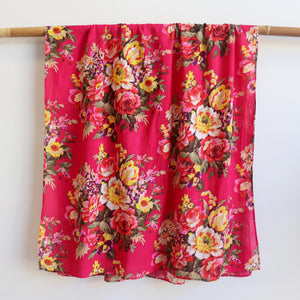 Vintage Floral Scarf is a handmade 100% cotton retro print accessory or sarong wrap. Pink. Full View.