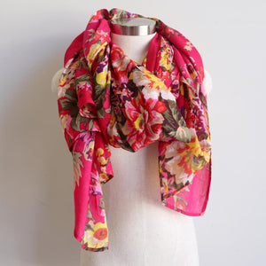 Vintage Floral Scarf is a handmade 100% cotton retro print accessory or sarong wrap. Pink.