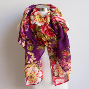 Vintage Floral Scarf is a handmade 100% cotton retro print accessory or sarong wrap. Purple.