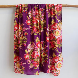 Vintage Floral Scarf is a handmade 100% cotton retro print accessory or sarong wrap. Purple. Full view.