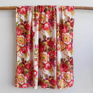 Vintage Floral Scarf is a handmade 100% cotton retro print accessory or sarong wrap. White. Full view.