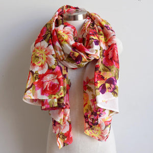 Vintage Floral Scarf is a handmade 100% cotton retro print accessory or sarong wrap. White.