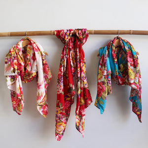 Vintage Floral Scarf is a handmade 100% cotton retro print accessory or sarong wrap. White, red, aqua.