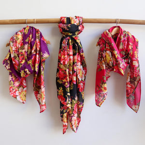 Vintage Floral Scarf is a handmade 100% cotton retro print accessory or sarong wrap. Purple, black, pink.
