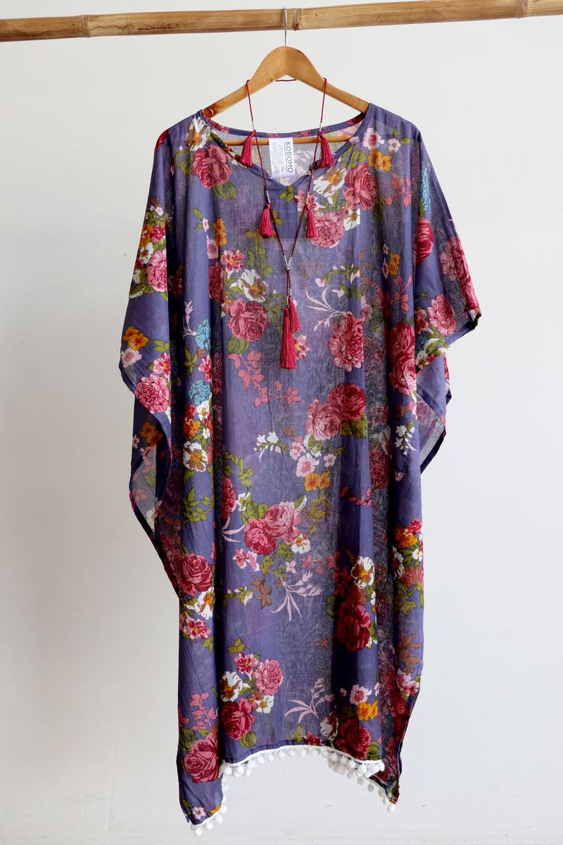 Cotton beach kaftan dress in vintage floral print. Beautiful over swimwear for plus sizes and as a beach holiday cover-up.