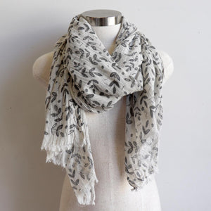Walk In The Park Scarf - Natural cotton handmade neck accessory for Winter and Summer. Charcoal / Natural