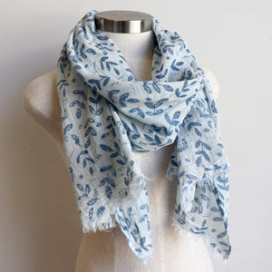 Walk In The Park Scarf - Natural cotton handmade neck accessory for Winter and Summer. Indigo Blue / Natural