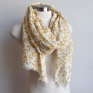 Walk In The Park Scarf - Natural cotton handmade neck accessory for Winter and Summer. Mustard / Natural.