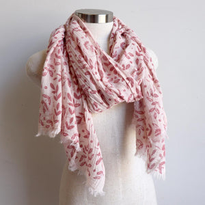Walk In The Park Scarf - Natural cotton handmade neck accessory for Winter and Summer. Rose / Natural