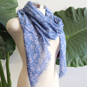 Walk In The Park Scarf - Natural cotton handmade neck accessory for Winter and Summer. Cornflower Blue.