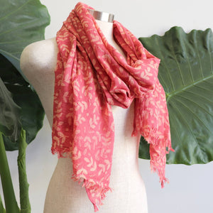 Walk In The Park Scarf - Natural cotton handmade neck accessory for Winter and Summer. Rose