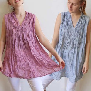 The Wanderer Cotton Blouse Top Sleeveless V-Neck. Lavender Pink + Silver Blue.