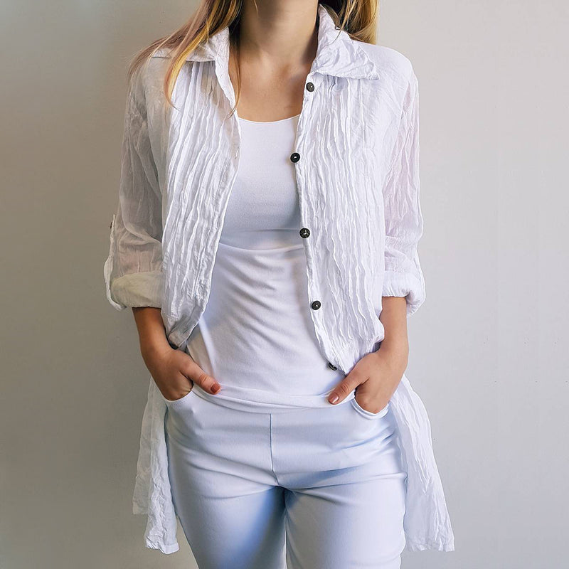 Shirt Maker Tunic Top All Natural Crinkle Cotton Button Up 3/4 Sleeve + collar. White