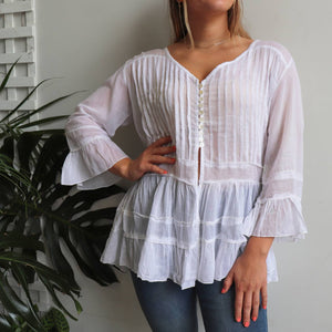 Pirate Blouse a one size, loose fitting long sleeve women's summer top. Made from Indian cotton voile, this button-front ruffled blouse is perfect for warm days.  Fits sizes 8-14.