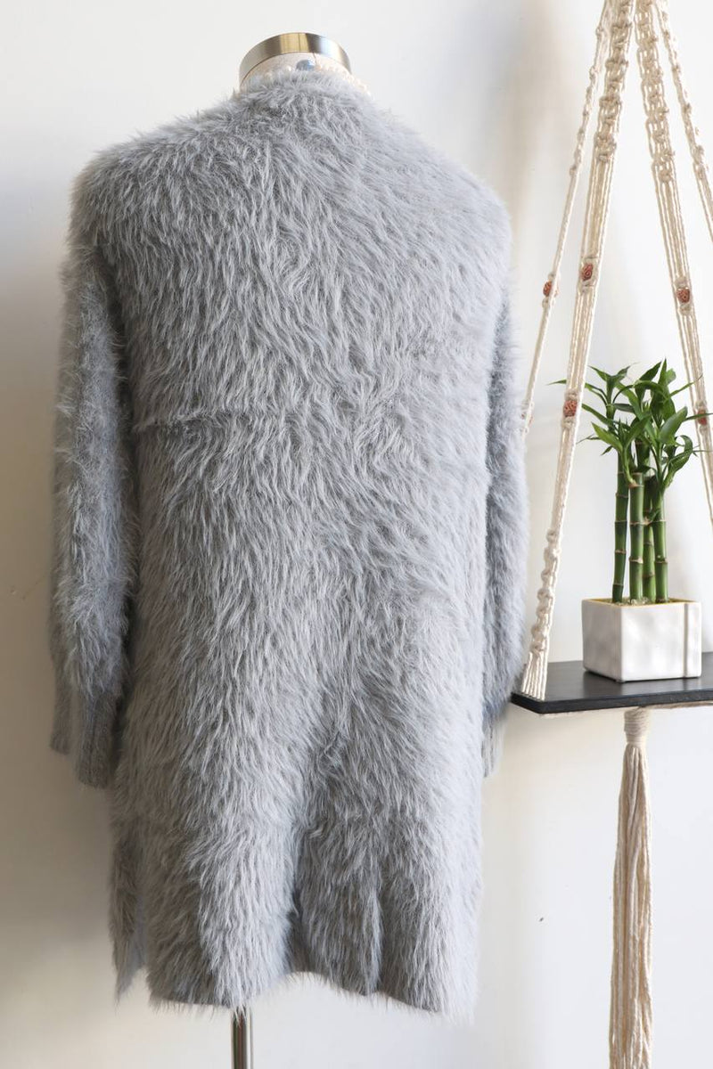 Windsor Cardi, a soft, cosy and a wonderfully stretchy piece from our winter range. Silver Grey.