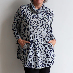 Winter Cowl Neck Tunic Top in Animal Print. Silver. Pocket view.