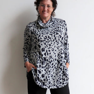 Winter Cowl Neck Tunic Top in Animal Print. Silver