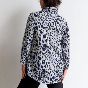 Winter Cowl Neck Tunic Top in Animal Print. Silver. Back view.