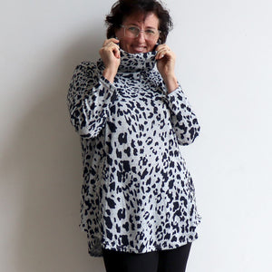 Winter Cowl Neck Tunic Top in Animal Print. Silver. Neckline view.