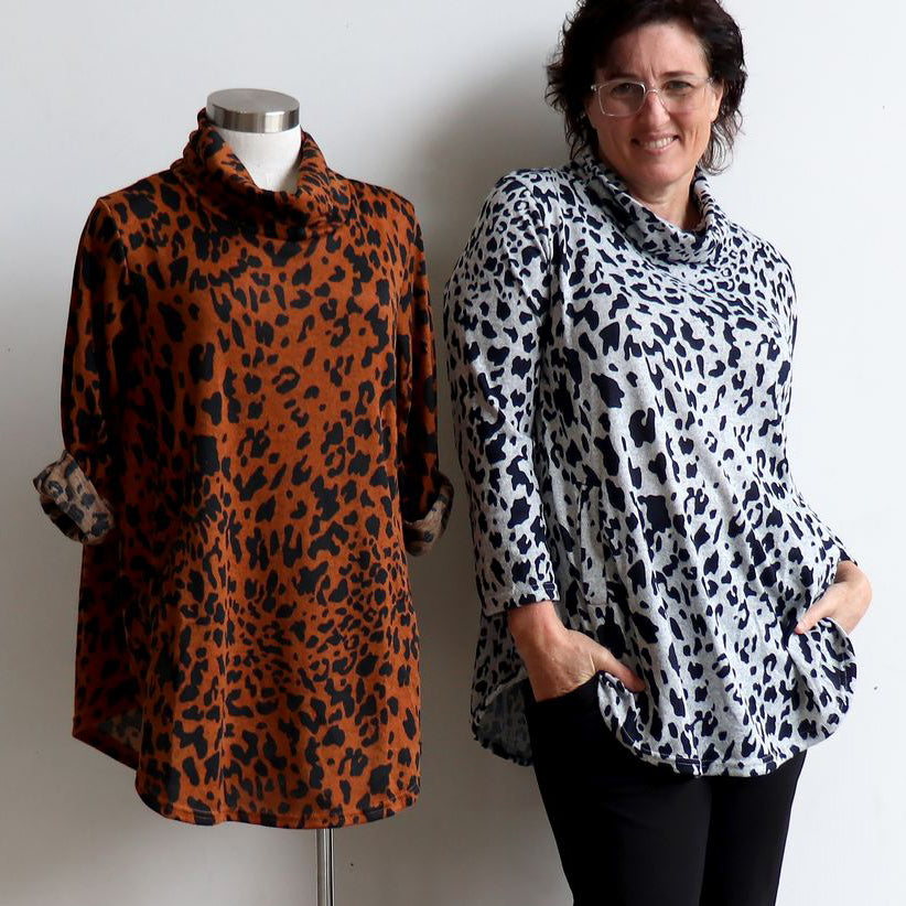Winter Cowl Neck Tunic Top in Animal Print.
