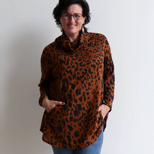 Winter Cowl Neck Tunic Top - Animal Print