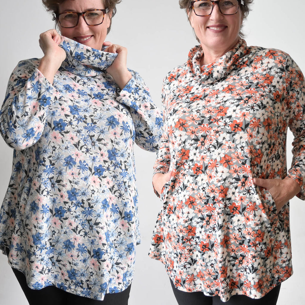 Winter Cowl Neck Tunic Top - Prairie Flowers
