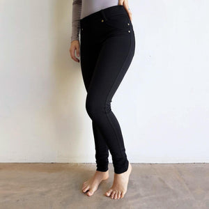 Comfortable Stretch Jean Leggings. Quality denim-look with brushed cotton finish inside for winter warmth. Easy care fabric, cotton, poly & spandex blend. Sizes 8-18. Black.