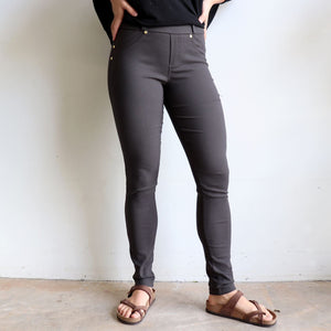 Comfortable Stretch Jean Leggings. Quality denim-look with brushed cotton finish inside for winter warmth. Easy care fabric, cotton, poly & spandex blend. Sizes 8-18. Charcoal.