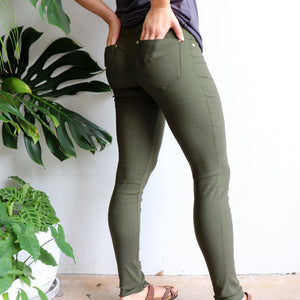Comfortable Stretch Jean Leggings. Quality denim-look with brushed cotton finish inside for winter warmth. Easy care fabric, cotton, poly & spandex blend. Sizes 8-18. Khaki Green.
