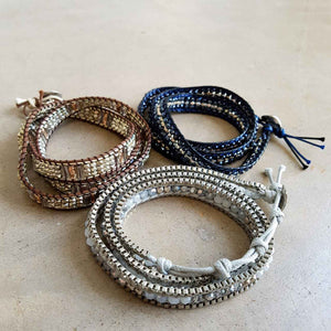 metallic beaded wrap bracelet