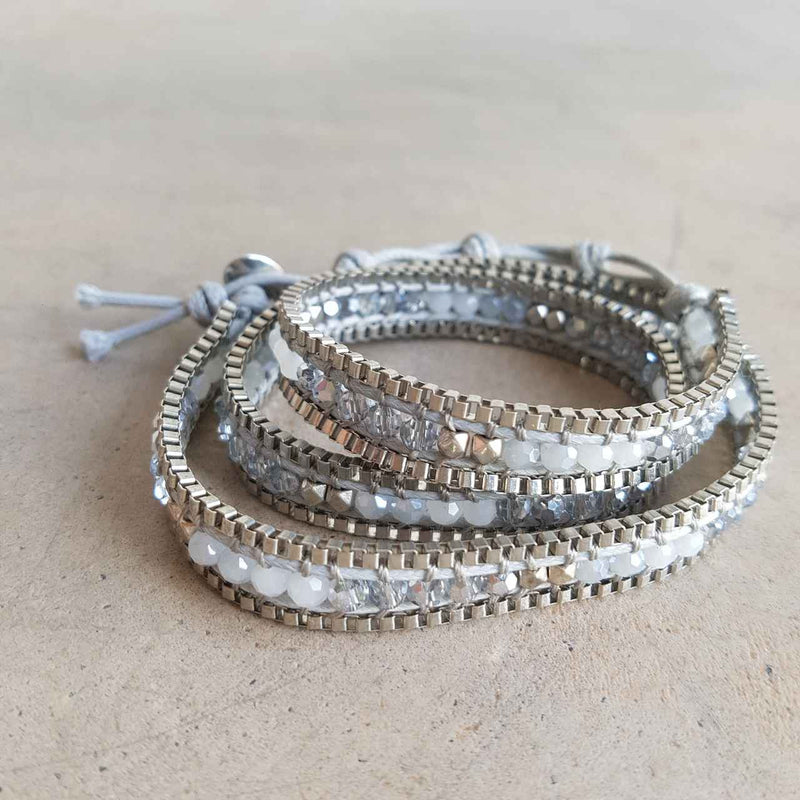 metallic beaded wrap bracelet silver pewter