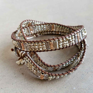 metallic beaded wrap bracelet tan silver