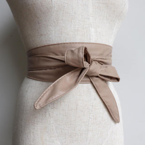 Leather-look wrap 'n' tie waist belt. Nude Beige.