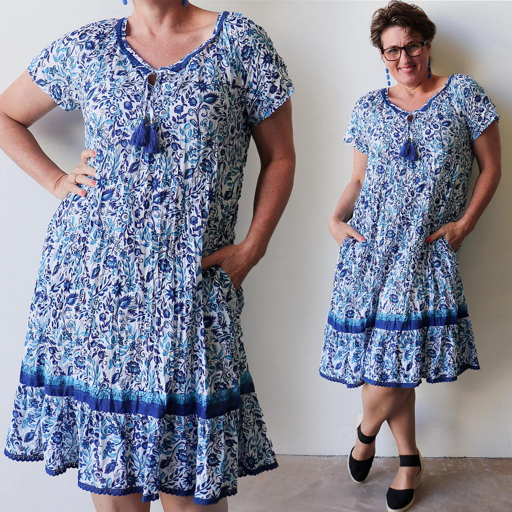 You Do You Dress - Mediterranean Blue Floral