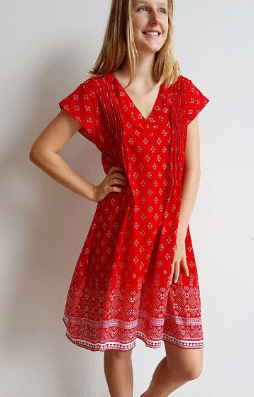 Womens classic cut, v-neck summer cotton dress with cap sleeve + pintuck shaping. Cherry Red Sari Print.