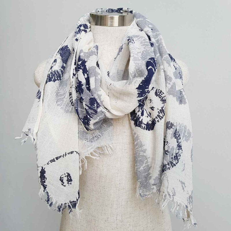 natural cotton printed scarf fossil print. light+ soft. Navy Blue and White.