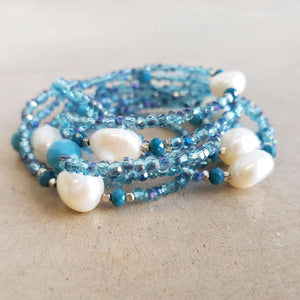 Pisces Pearl and Cutglass Necklace- 70cm length freshwater pearls. Marine Blue.