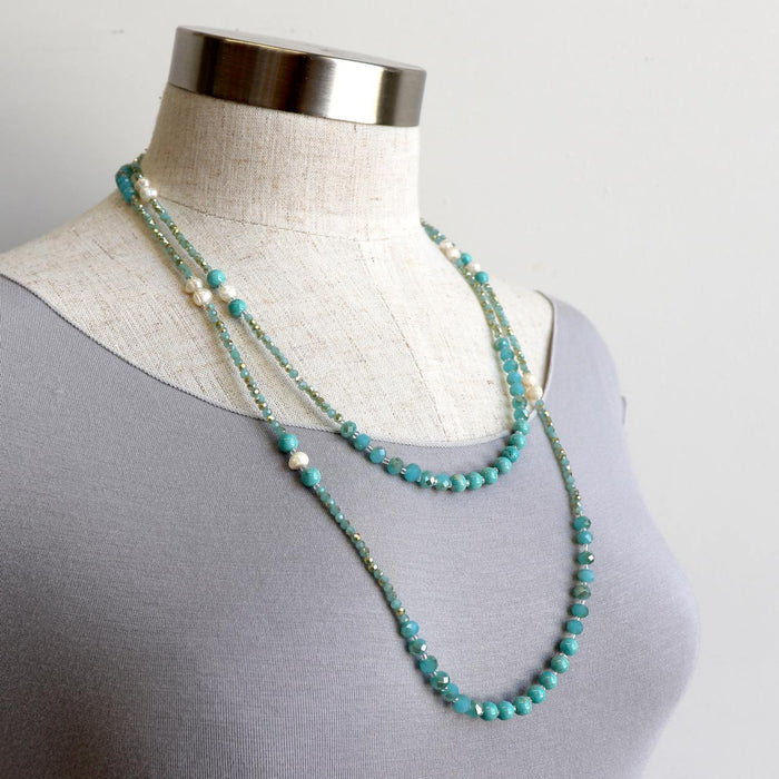 Dana Baroque Pearl and Turquoise Necklace