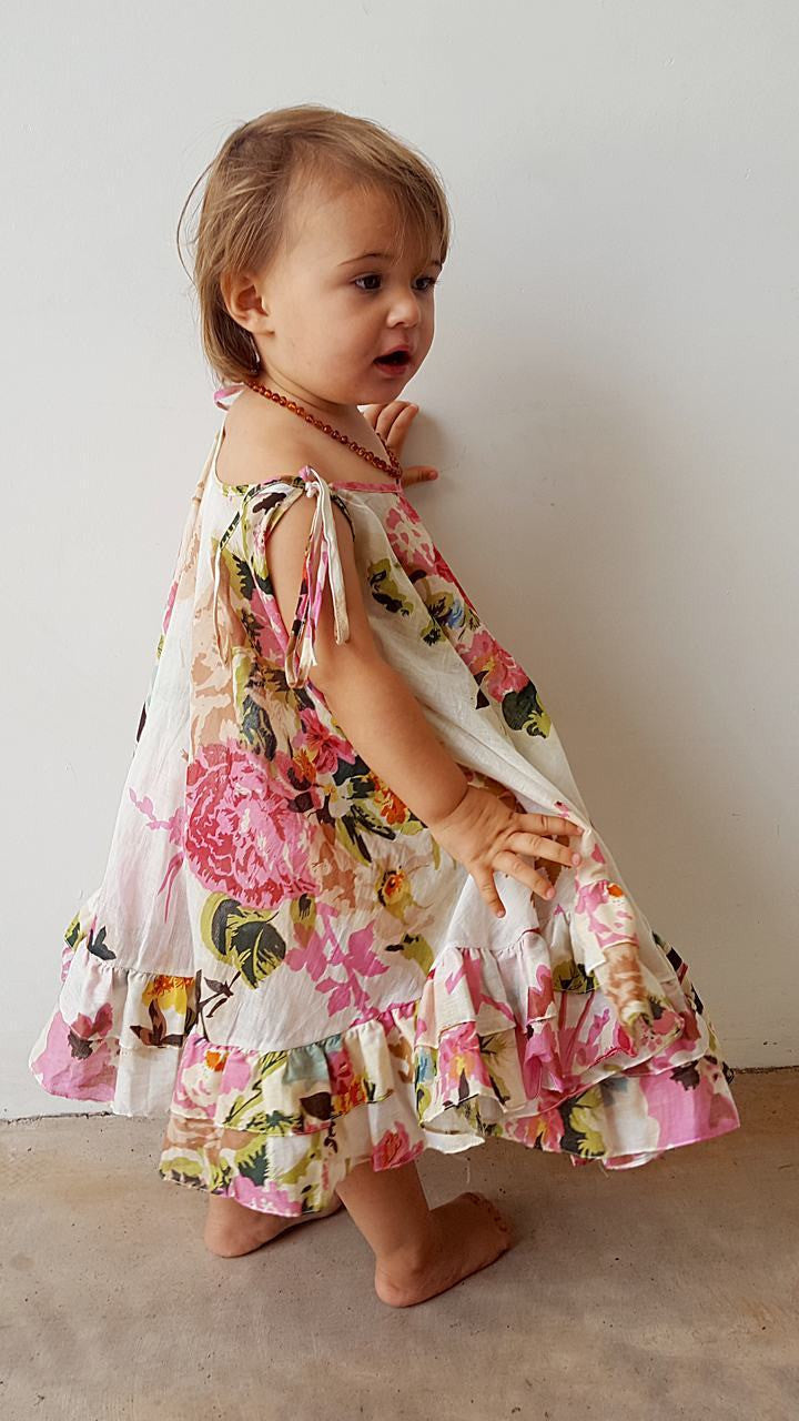 71bc29501b Girls  Sophia  Ruffled Circle Cotton Summer Dress - Pink Floral – KOBOMO
