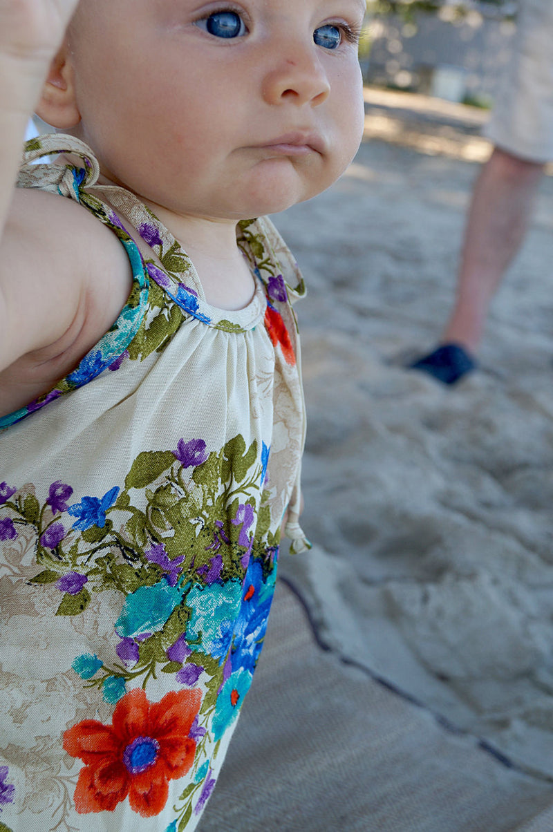 Girl's Dusty-May Sun Dress. Grow-with-me design in soflty draping rayon fabric. Ethically handmade by our Kobomo team. Sizes baby girl to tween.
