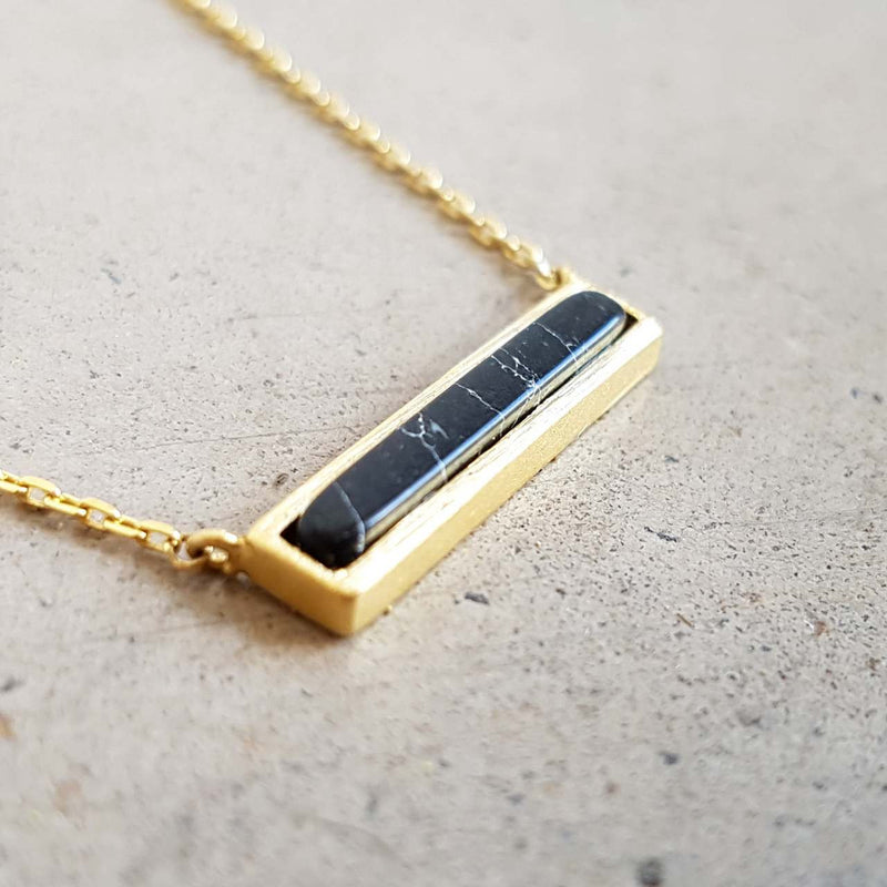 La Luna Rock Necklace Jewellery Gold Chain Black bar