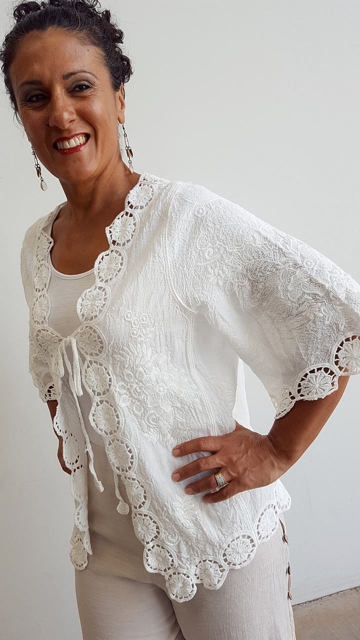 Lightweight summer embroidered cardigan with 3/4 sleeve + cotton lace detailing + tie front. White.