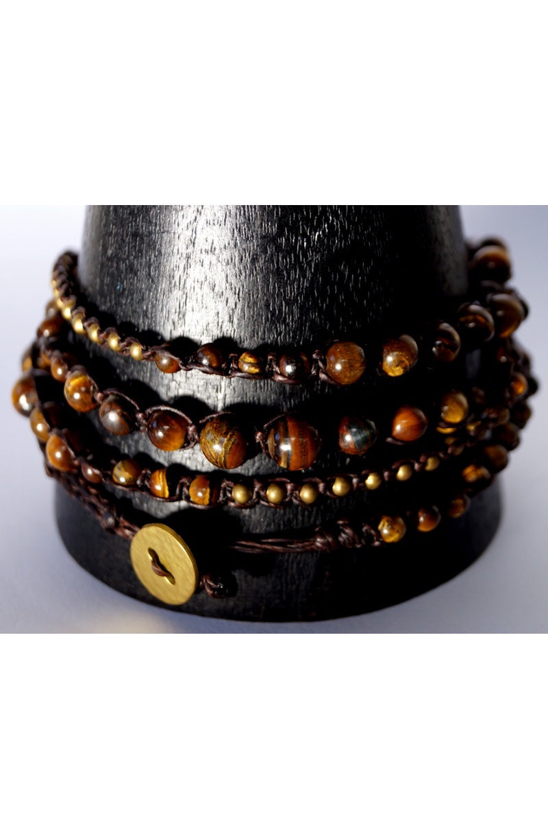 Tigers Eye Stone Wrap Bracelet