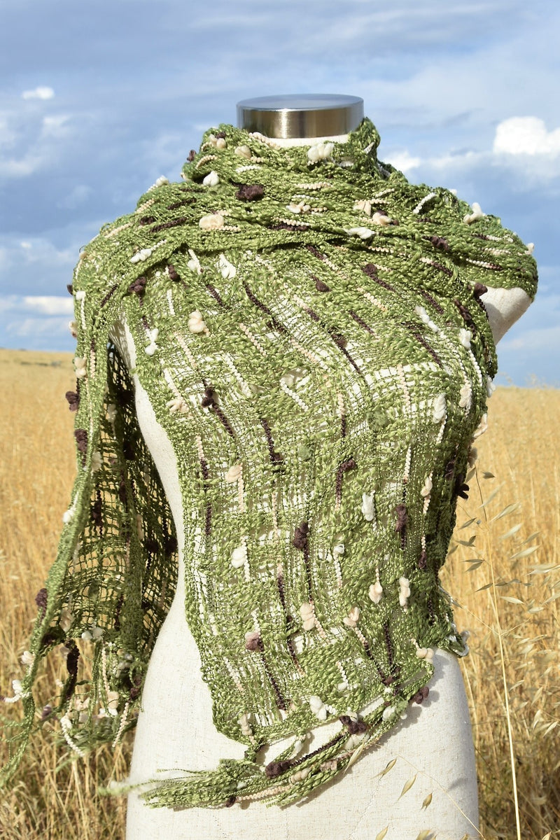 Jindy Scarf is a beautiful winter accessory in a silky soft woven fibre.  Olive Green