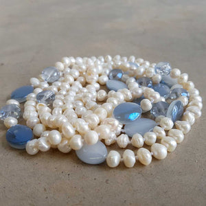 Atlantis Long Baroque Pearl Opera Necklace clear + coloured beads. Smoke Blue.