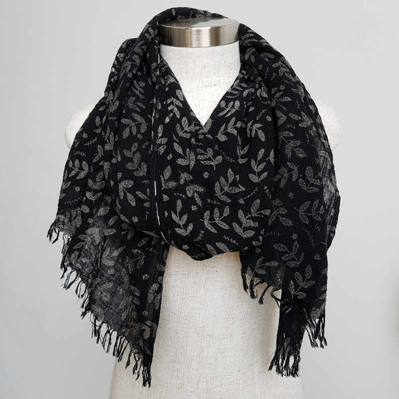 Natural cotton printed scarf fern print. Delicate + soft to touch. Black