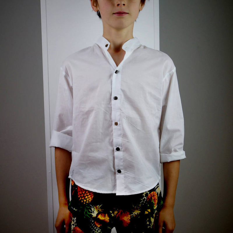 boy's button up collared shirt long sleeves pure cotton white. Handmade.