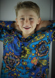 Boy's button-up long sleeved cotton shirt in cobalt blue paisley